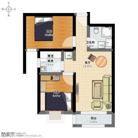 凤城盛世2室1厅1卫1厨48.50㎡户型图