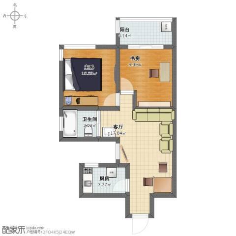怡景佳园项目2室1厅1卫1厨48.40㎡户型图