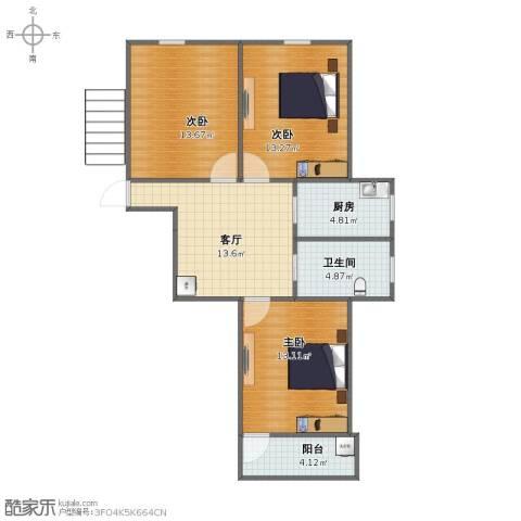 莫愁湖东路小区3室1厅1卫1厨67.40㎡户型图