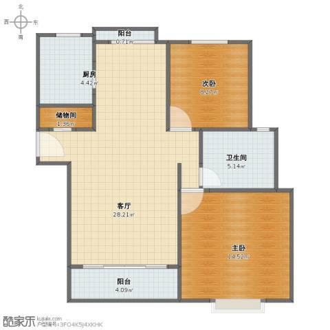 丽湾国际2室1厅1卫1厨67.00㎡户型图