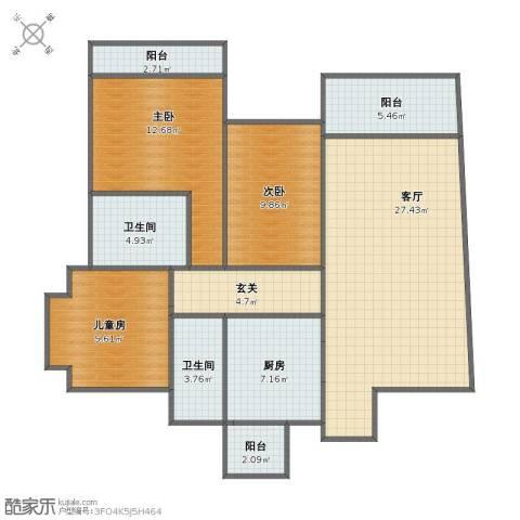 锦绣棕榈园3室1厅1卫2厨90.30㎡户型图