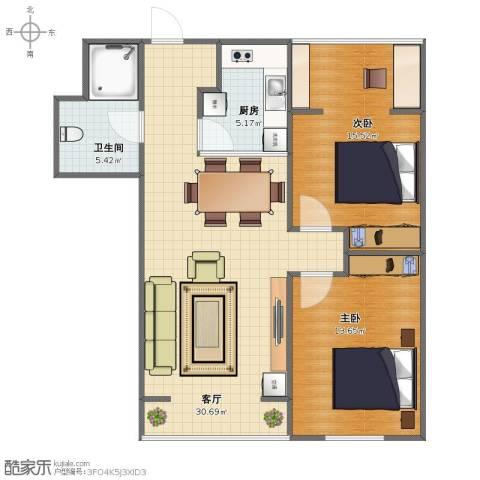 瑞家景峰2室1厅1卫1厨70.40㎡户型图
