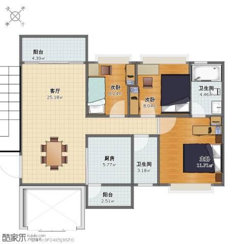 智博E区3室1厅1卫2厨71.40㎡户型图