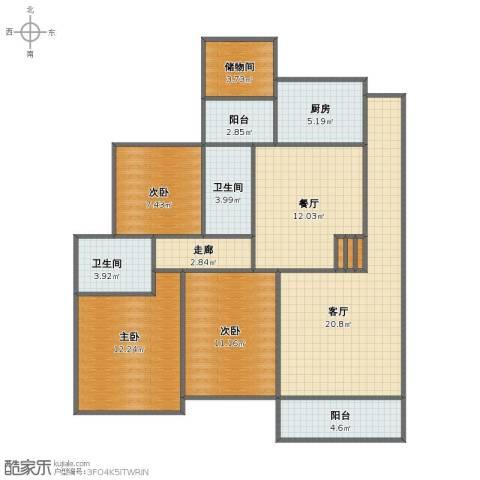 君怡花园3室2厅1卫2厨91.30㎡户型图