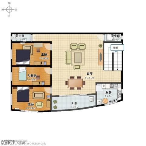 星荷三区3室1厅1卫2厨121.00㎡户型图