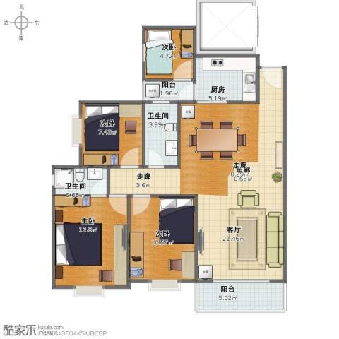君怡花园4室1厅1卫2厨93.00㎡户型图