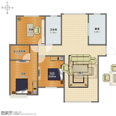 杏坛中心城3室1厅1卫1厨93.00㎡户型图