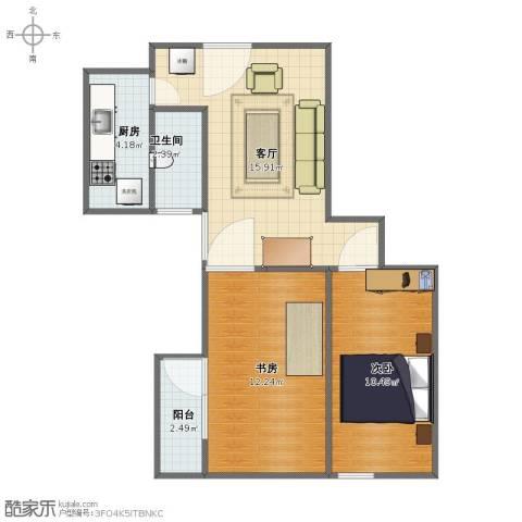 华威西里2室1厅1卫1厨48.00㎡户型图