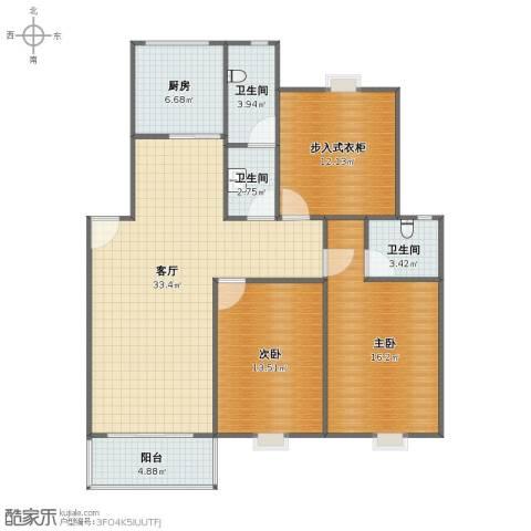 连云港幸福城2室1厅1卫3厨97.00㎡户型图