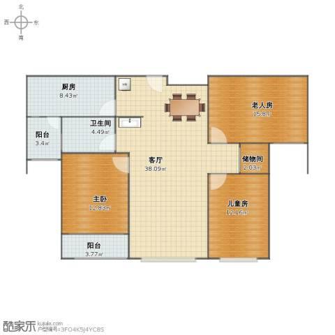 衡水金域蓝湾3室1厅1卫1厨101.00㎡户型图