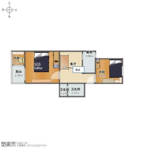 华阳佳园3室1厅1卫2厨48.00㎡户型图