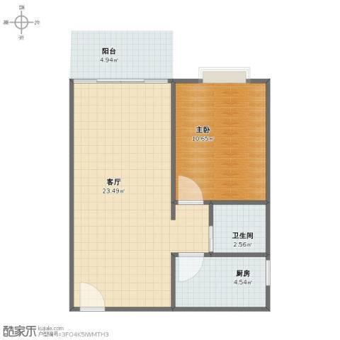 惠百氏广场1室1厅1卫1厨46.10㎡户型图