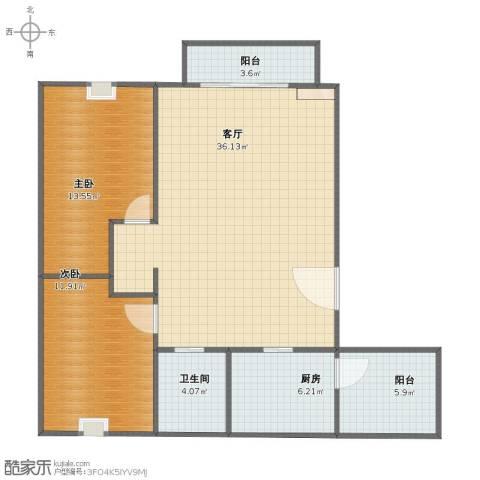 蓝色湖畔2室1厅1卫1厨81.30㎡户型图