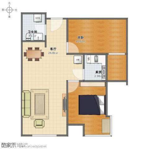 山海景湾1室1厅1卫1厨56.40㎡户型图