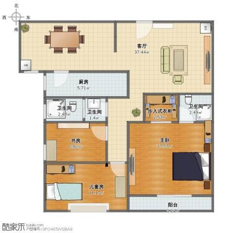 盛世金典3室1厅1卫3厨91.00㎡户型图