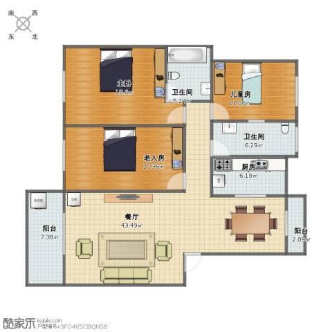 太平花园广场3室1厅1卫2厨118.00㎡户型图