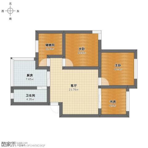 鹤北一街坊3室1厅1卫1厨68.10㎡户型图