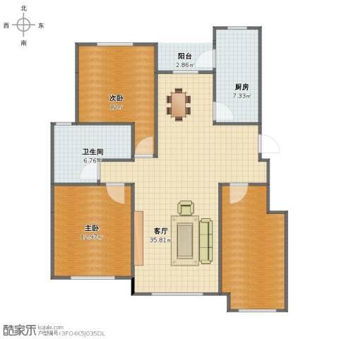 海创半山壹号2室1厅1卫1厨91.00㎡户型图