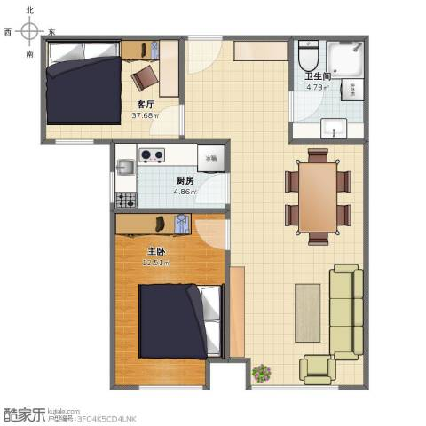 首尔・甜城MOBO国际中心1室1厅1卫1厨60.00㎡户型图