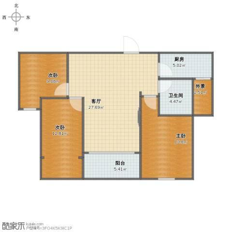 中亚.东方名都3室1厅1卫1厨81.00㎡户型图