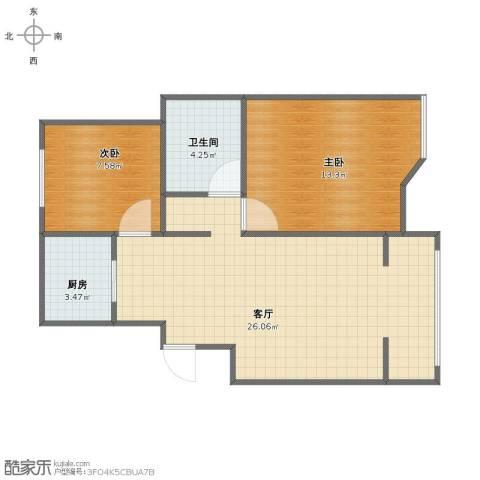 滨湖御景湾2室1厅1卫1厨55.00㎡户型图