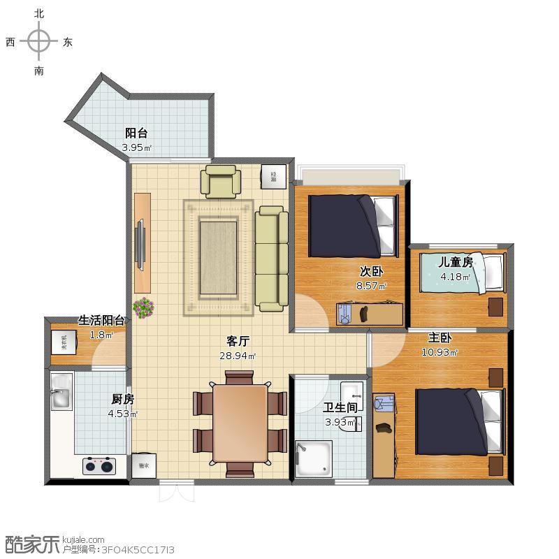 E户型的3室方案