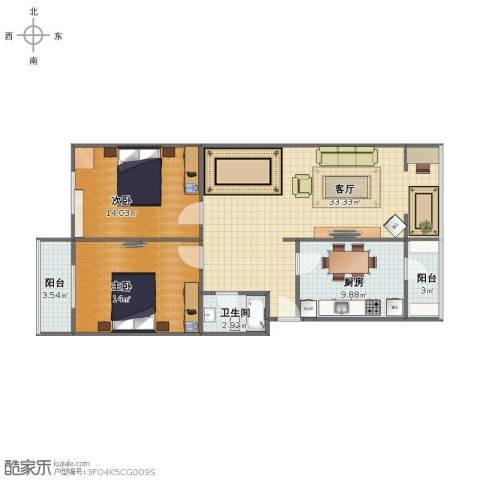 正东公寓2室1厅1卫1厨81.00㎡户型图