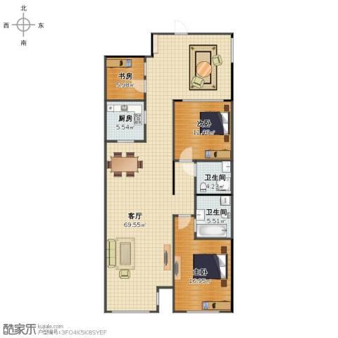 天力水榭春城3室1厅1卫2厨120.20㎡户型图