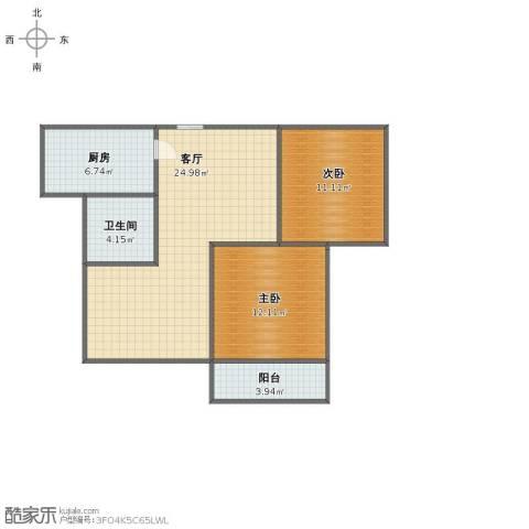 济高・理想嘉园2室1厅1卫1厨63.00㎡户型图