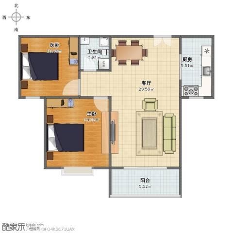 胜利花园2室1厅1卫1厨67.10㎡户型图