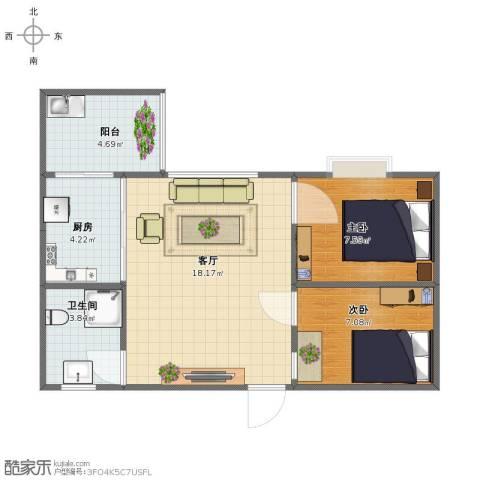 龙景台2室1厅1卫1厨46.00㎡户型图