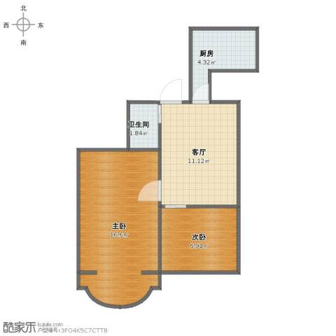 西坝河东里2室1厅1卫1厨46.00㎡户型图