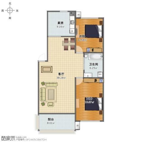 保莱蓝湾国际2室1厅1卫1厨99.00㎡户型图