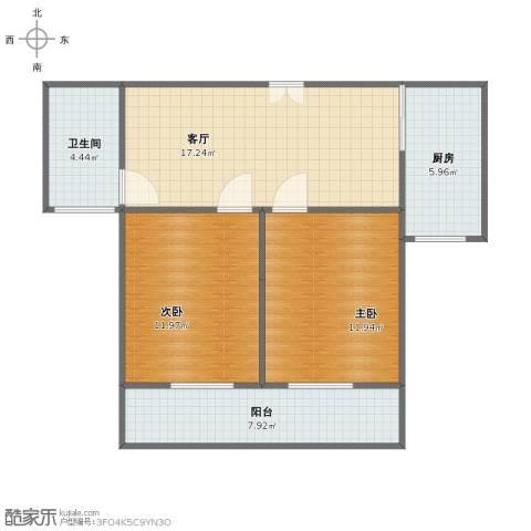 中茵星墅湾2室1厅1卫1厨67.00㎡户型图