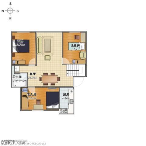 古城新境3室1厅1卫1厨77.00㎡户型图