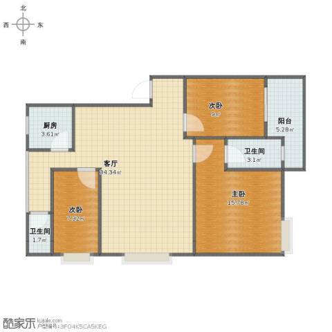 龙怡苑3室1厅1卫2厨89.00㎡户型图