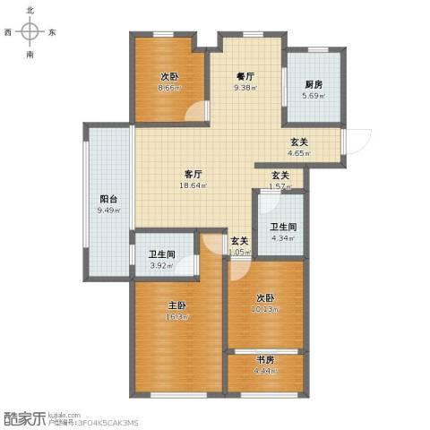 月亮湾3号4室2厅1卫2厨116.00㎡户型图