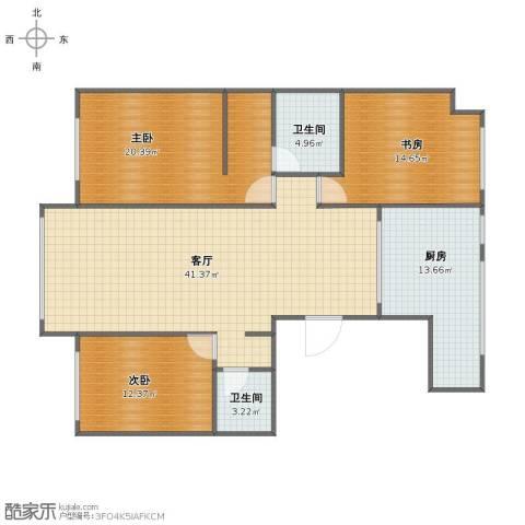 保利罗兰香谷二期3室1厅1卫2厨121.00㎡户型图