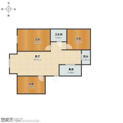 首创福特纳湾3室1厅1卫1厨101.00㎡户型图