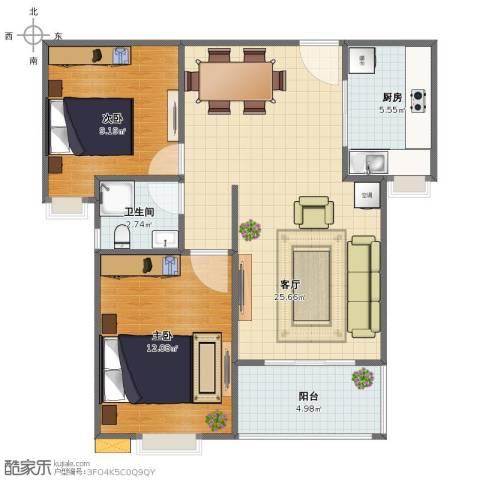 多伦多国际花园2室1厅1卫1厨67.00㎡户型图