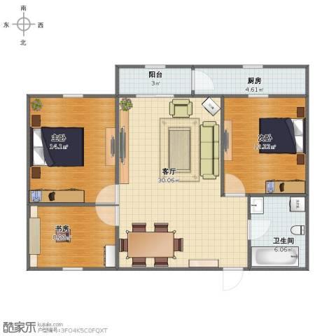 和兴小区3室1厅1卫1厨86.00㎡户型图