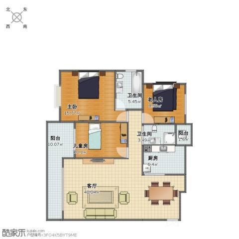 南凤天城3室1厅1卫2厨112.00㎡户型图
