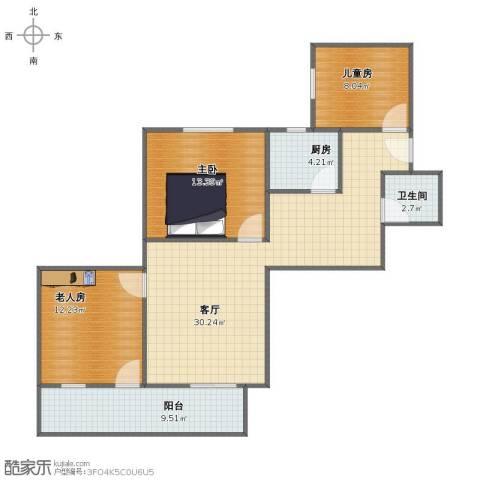 永福楼3室1厅1卫1厨90.00㎡户型图