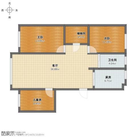 金城福邸3室1厅1卫1厨102.00㎡户型图
