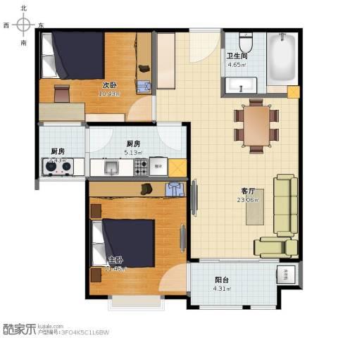 中央名邸2室1厅2卫1厨69.00㎡户型图