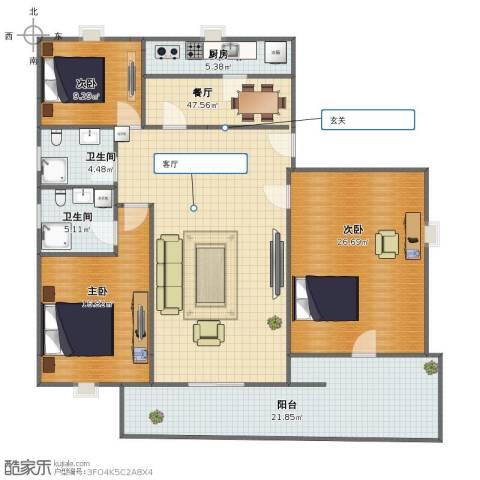 紫金家园3室1厅1卫2厨149.00㎡户型图