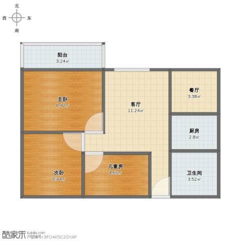 云顶花园3室2厅1卫1厨50.00㎡户型图