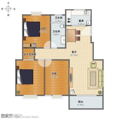 繁华世家2室1厅1卫2厨98.00㎡户型图