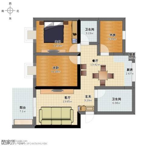 梁林帆影庄3室2厅1卫2厨100.00㎡户型图
