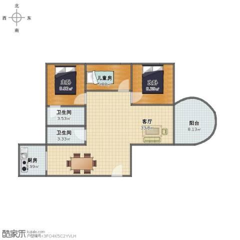 中信惠扬3室1厅1卫2厨83.00㎡户型图